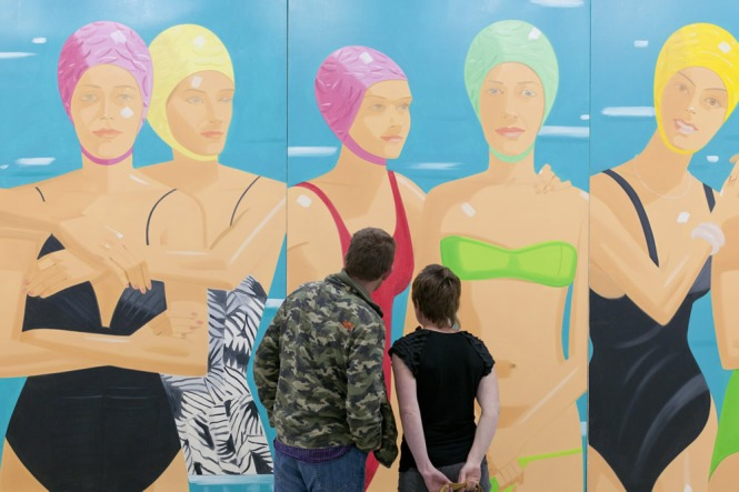 At the private view of Alex Katz: Give me Tomorrow, Tate St Ives (in the background: Alex Katz Eleuthera (detail)