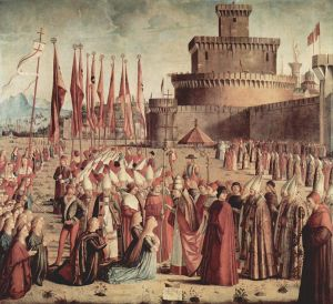 Vittore Carpaccio: The Pilgrims Meet Pope Cyriac before the Walls of Rome - From the Legend of St. Ursula